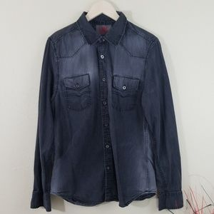 French Connection Black Acid Wash Button-Up Shirt